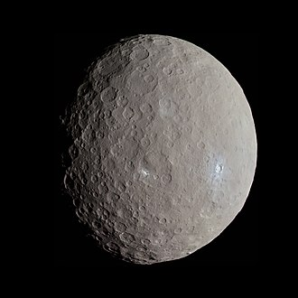 Ceres (dwarf planet) - A view of Ceres in natural color, by the Dawn spacecraft in May 2015