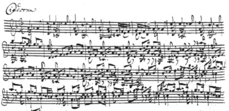 Partita for Violin No. 2 (Bach) - Chaconne. Bach's manuscript (beginning).
