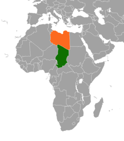 Map indicating locations of Libya and Chad
