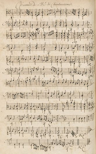 "Jacques Champion de Chambonnières - Described as ""one of Chambonnières' most beautiful works and deservedly one of his most famous"" by Willi Apel, the F major chaconne is seen here as preserved in the famous Bauyn manuscript."