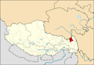 Location of Chamdo County within Tibet