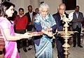 "Chandresh Kumari Katoch lighting the lamp to inaugurate an exhibition of the original correspondence of Gandhiji and Herrman Kallenbach entitled ""Gandhi-Kallenbach Papers"", in New Delhi on January 30, 2013.jpg"