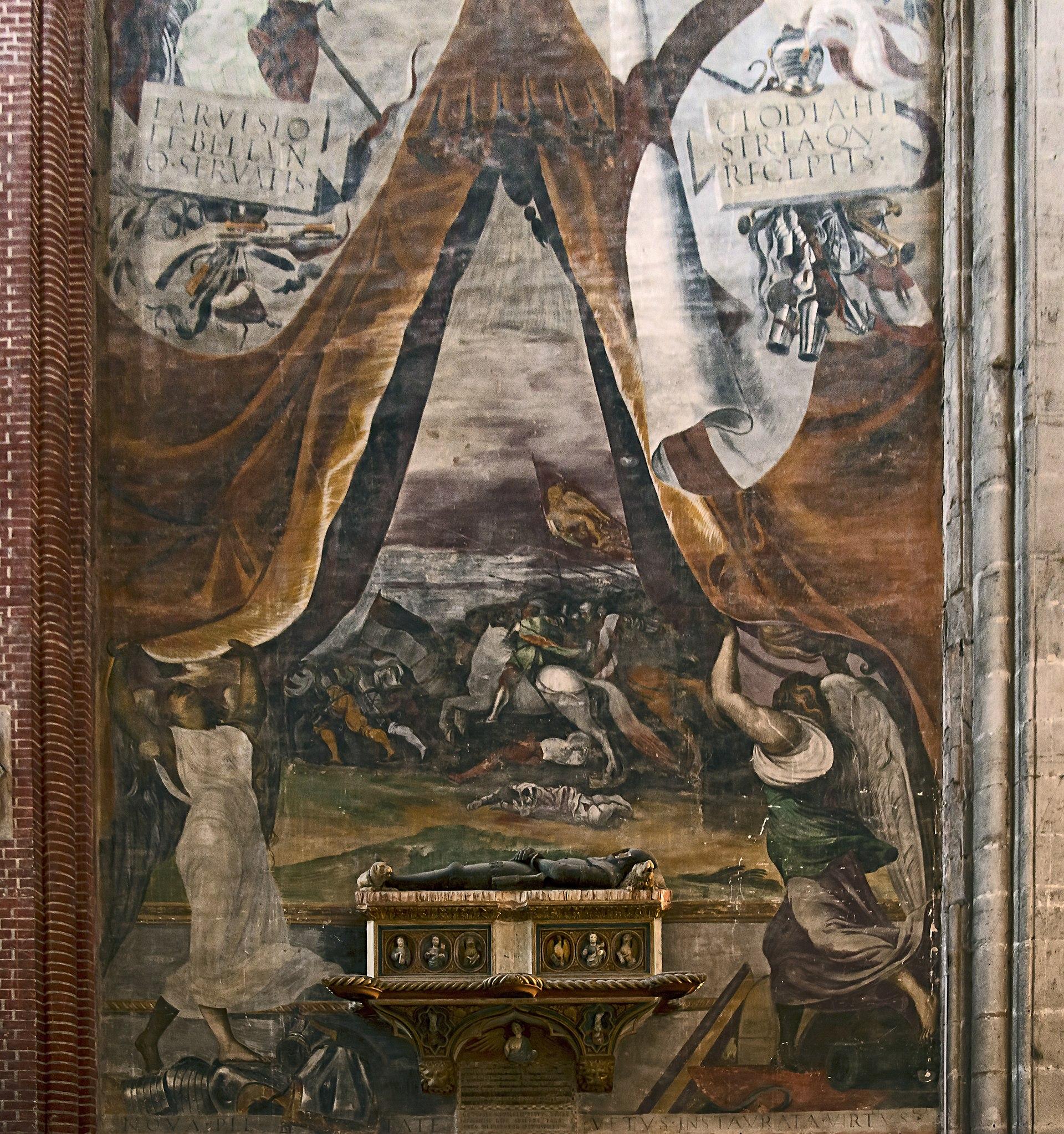 Battaglia di Chioggia, fresco di Lorenzino di Tiziano, Basilica Basilica dei Santi Giovanni e Paolo