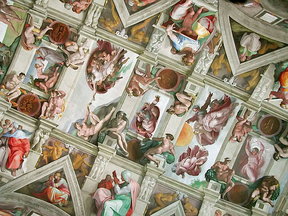 The Renaissance period was a golden age for Catholic art. Pictured: the Sistine Chapel ceiling painted by Michelangelo. Chapelle sixtine plafond.jpg