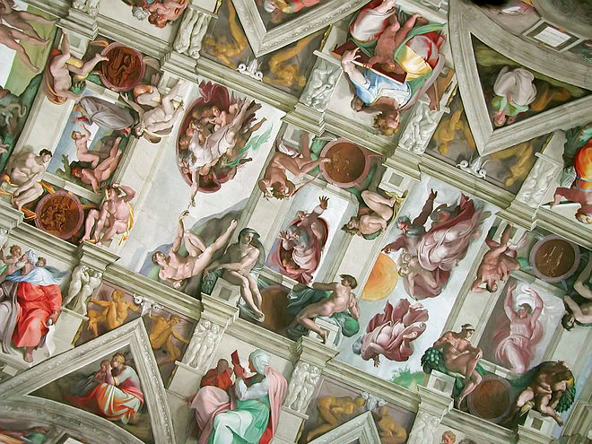 A section of the Sistine Chapel ceiling Chapelle sixtine plafond.jpg