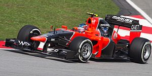 Manor Motorsport - Charles Pic driving the Marussia MR01 during qualifying for the 2012 Malaysian Grand Prix.