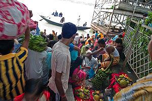 Babughat - People performing Chhat Puja on Babughat, Kolkata.