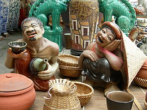 Chí Phèo - Ceramic statue of Chí Phèo and Thị Nở, Bát Tràng Porcelain