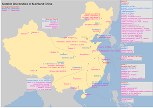 Project 985 - Map showing major universities in China. Universities of Project 985 are marked in blue (C-9 league schools are marked in red and all of them are Project 985 schools too.)