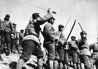 "Dao (sword) - Chinese soldiers from a ""Big Sword Unit"" during the Japanese invasion of Jehol Province, China, 1933"