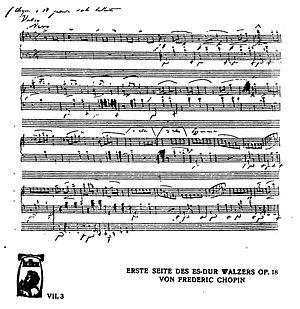 Grande valse brillante in E-flat major (Chopin) - First manuscript page of Opus 18
