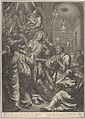 Christ Before Caiaphas looks to St. Peter, who Denies Him, from The Passion of Christ, plate 9 MET DP835967.jpg
