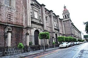Secretariat of Public Education Main Headquarters - Luis Gonzalez Obregon facade looking from what was the old La Encarnacion Church