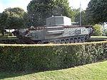 Churchill Crocodile tank, rear three-quarters view, Musée-Mémorial de la Bataille de Normandie.JPG