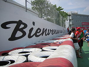 Circuit Gilles Villeneuve - Bienvenue au Québec slogan on the Wall of Champions