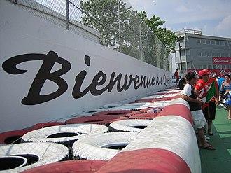 Circuit Gilles Villeneuve - Bienvenue au Québec slogan on the Wall of Champions