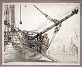 Claude-joseph vernet, studio della prua di una nave da guerra con nave inglese e porto di napoli nello sfondo, 1748 ca.jpg