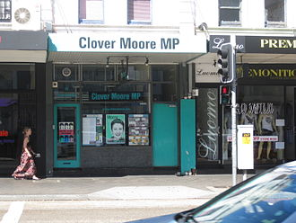 Clover Moore - Clover Moore's state electorate office on Oxford Street, Paddington, in 2010.