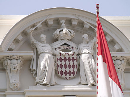 Monaco's flag and its coat of arms