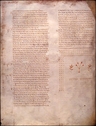 Biblical manuscript - Folio 41v from Codex Alexandrinus contains the Gospel of Luke with decorative tailpiece.