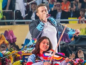 Super Bowl 50 halftime show - Coldplay frontman Chris Martin during the performance.