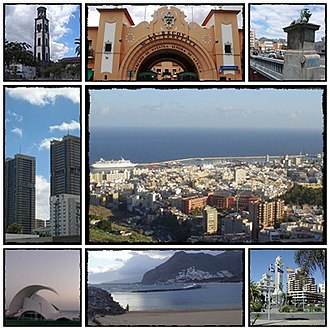 Santa Cruz de Tenerife - From the top, left to right: Iglesia Matriz de la Concepción, Mercado Nuestra Señora de África, Puente Serrador, Torres de Santa Cruz, Panoramic city, Auditorio de Tenerife, Playa de Las Teresitas and Plaza de España.