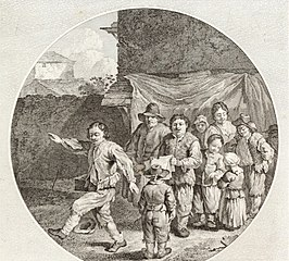 Dancing and Singing Peasants in a Courtyard