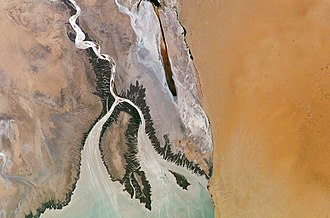 Colorado River Delta - Colorado River Delta as seen from space (2004); Isla Montague is the large island in the center.