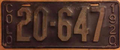 Colorado 1920 license plate - Number 20-647.png