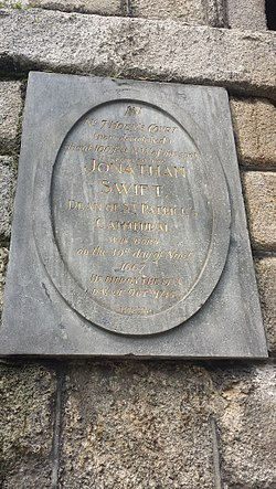Photo of Jonathan Swift black plaque