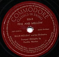 "Billie Holiday: ŝelakdisko kun ""Strange Fruit"" kaj ""Fine and Mellow"" de Commodore Records el 1939"