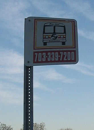 Fairfax Connector - A typical Fairfax Connector bus stop sign