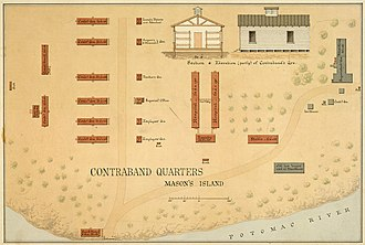 Theodore Roosevelt Island - Image: Contraband Quarters, Mason's (Roosevelt) Island, Washington, D.C. (Ground plan, view and cross section of one of the... NARA 305820