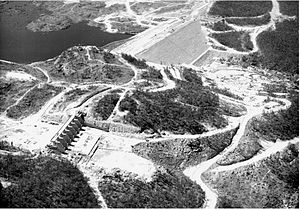 Copeton Dam - Aerial photograph of Copeton Dam under construction in 1972