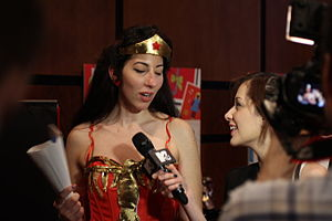 Journalist - Image: Cosplayers at Comicdom 2012 in Athens, Greece grant interviews to the MTV television channel 21