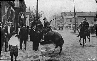 Steel strike of 1919 - An unprovoked attack by mounted state police during the strike in Pennsylvania in September 1919.