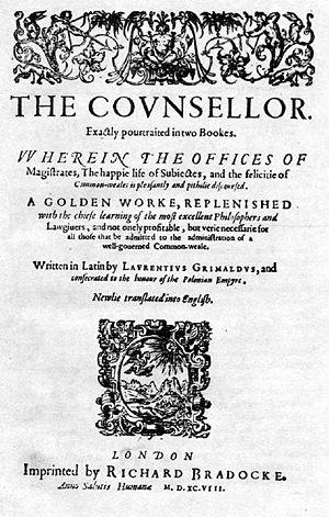 Wawrzyniec Grzymała Goślicki - The title page to Goślicki's The Counsellor from 1598