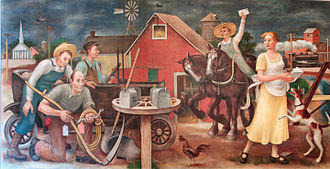 Section of Painting and Sculpture - Country Post (1938), mural by Doris Lee for the Clinton Federal Building
