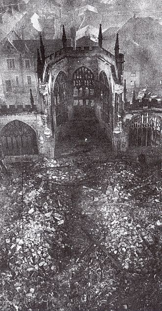 Coventry Blitz - Coventry Cathedral in ruins after the Luftwaffe air raid