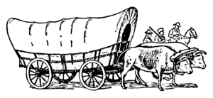 Line art drawing of a covered wagon.