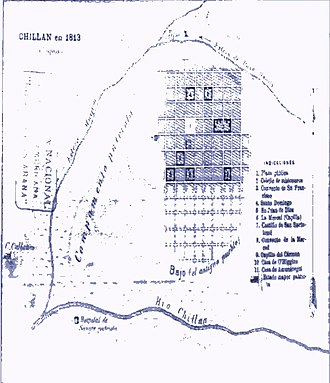 Siege of Chillán - Sketch compiled by the patriots in the siege of Chillán, in 1813 July