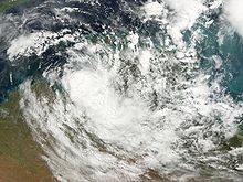 A sprawling mass of clouds obscuring much of northern Australia.