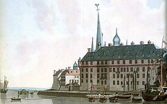 Duchy of Berg - The ducal palace at Düsseldorf, 1798 copper engraving by Laurenz Janscha. The palace burnt down in 1872.