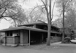 D. D. Martin House - West side elevation and porte cochere - HABS NY,15-BUF,5-7.jpg