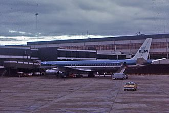 Sydney Airport - KLM DC8 at Gate 2 International Terminal in 1972