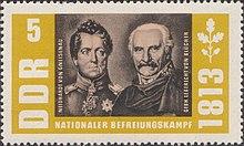 Sonderbriefmarke der Deutschen Post (DDR) zum 150. Jahrestag der Befreiungskriege mit Abbildungen von Gneisenau und Blücher, 1963 (Quelle: Wikimedia)