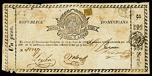 Dominican peso - One peso bank note (1849) from the first regular government issue.