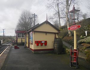 Keighley and Worth Valley Railway - Damems Railway Station has the distinction of being the smallest standard gauge railway station in Great Britain. It is mostly used by passengers changing trains, usually during busy periods, such as gala events.