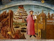 Dante und sein berühmtes Epos (Fresko von Domenico di Michelino in Santa Maria del Fiore, Florenz 1465) (Quelle: Wikimedia)