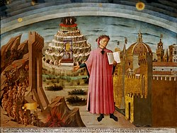Fresco showing Dante Alighieri holding a copy of his epic poem The Divine Comedy, in the dome of the church of Santa Maria del Fiore in Florence (Florence's cathedral)